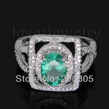 Oval 5x7mm 14Kt White Gold Diamond Emerald Engagement Ring 585 White Gold SR131A(China)