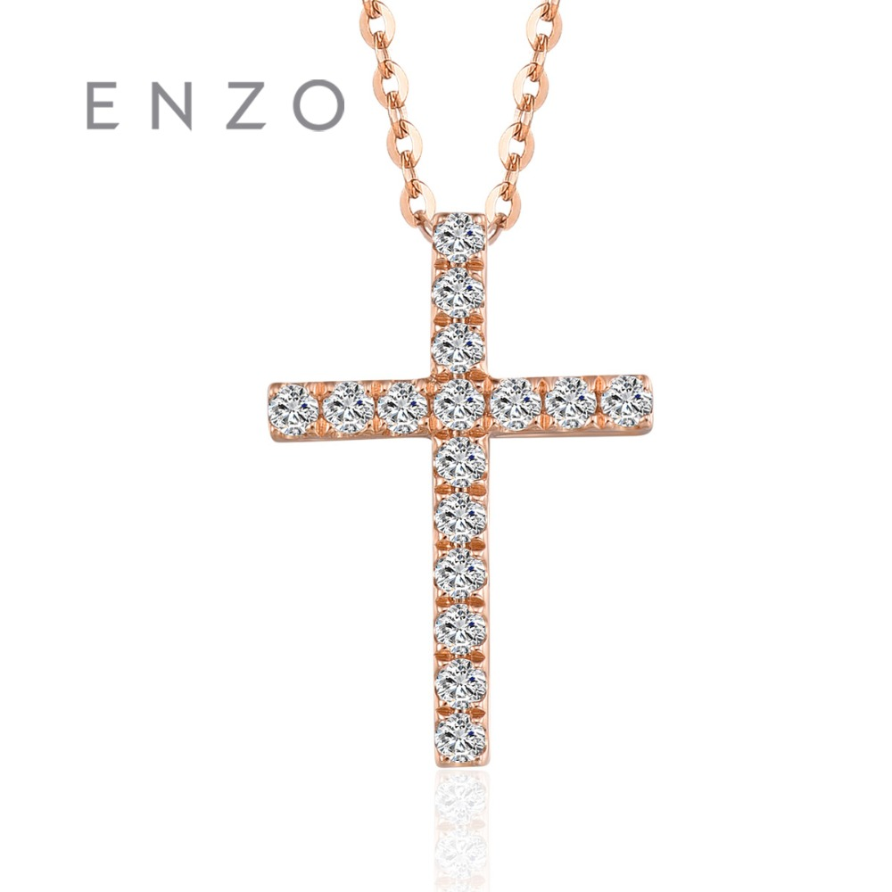 ENZO Real 18K Rose Gold (AU750) 16PC/0.08ct Diamond Pendants For Women Necklace Cross Classic Christmas Jewelry 2018