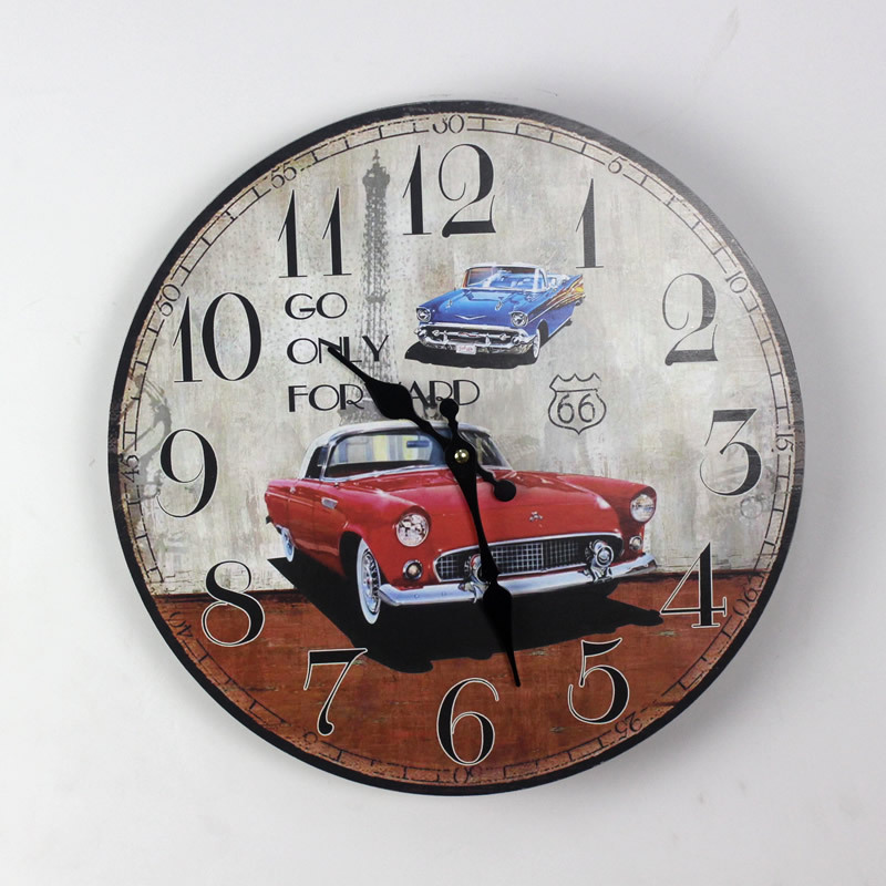 AIBEI-Zakka Red sports Cars Wood Wall Clock Fashion Home Decoration Arabic numeral Digital Electronic Clocks