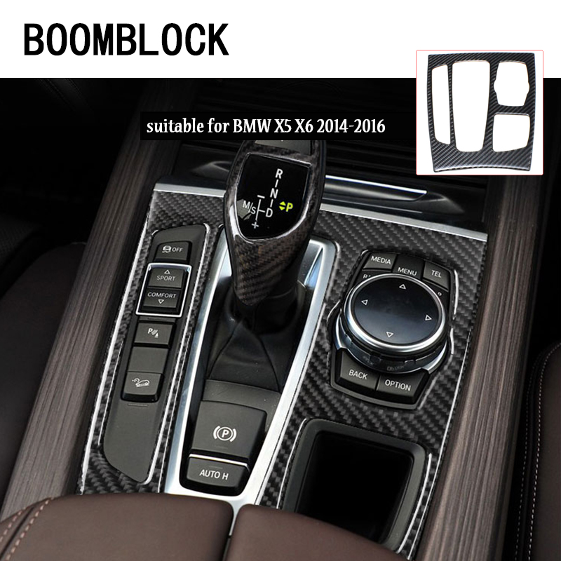 BOOMBLOCLK car-styling Carbon Fiber Shift Panel Interior Decorative Stickers on cars For BMW X5 X6 E71 E70 2014-2016 accessories carbon fiber car rear bumper extension lip spoiler diffuser for bmw x6 e71 e72 2008 2014 xdrive 35i 50i black frp
