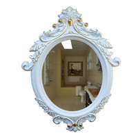 Decorative Oval Wall Mirror, White Wooden Frame for Bathrooms, Bedrooms, Dressers, and Antique Princess Decor