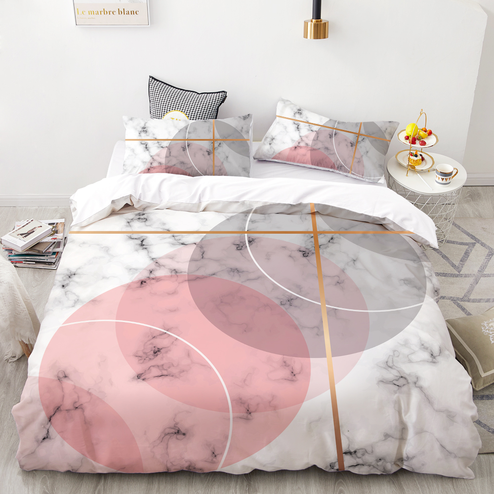 3D HD Digital Printing Custom Bedding Set,Duvet Cover Set Double Queen Cal King,Wedding Bedclothes Pink Marble Drop Shipping
