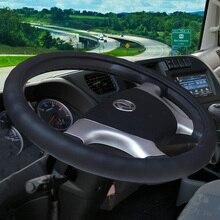 KKYSYELVA Black Winter Steering Wheel Covers for Car Bus Truck 36 38 40 42 45 47 50cm Auto Steering-wheel cover Styling