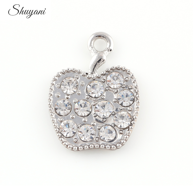16*21mm Silver Gold Crystal Apple Pendant Charms Jewelry Fit Women Necklace Bracelets DIY