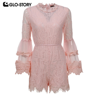 GLO STORY Women 2018 Sexy Fashion Summer Club Party Playsuit Woman Elegant Lace Jumpsuit WYQ 6387