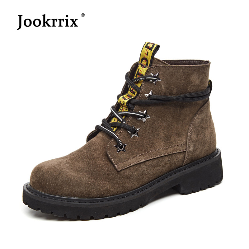 Jookrrix 2018 Casual Shoes Women Fashion Brand Martin Boots Real Leather Lady chaussure Cross-tied Female footware Ankle Boots 2018 brand design shoes women mixed color chain cross tied women martin boots zip leather ankle botas femeninas casual shoes