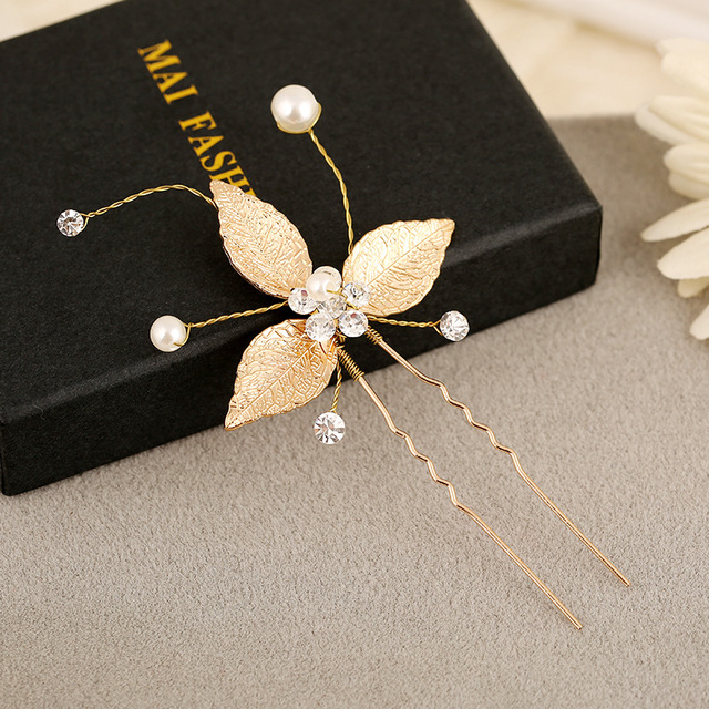 Gold Leaf Bridal Hair Pins 12 Pieces Comb Crystal Pearl Vintage Tiara Wedding Accessories Hairdress