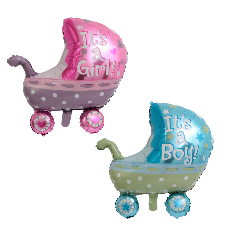1pc New Baby Stroller Shape Foil Balloon It's a Girl It's a Boy Helium Balloons Baby Shower Gender Reveal Party Decorations Ball