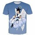 Mais novo Estilo t-shirt Das Mulheres Dos Homens de Anime Dragon Ball Z Super Saiyan t shirts t-shirt Anjo Goku 3D t camisa do Verão t Ocasional camisas