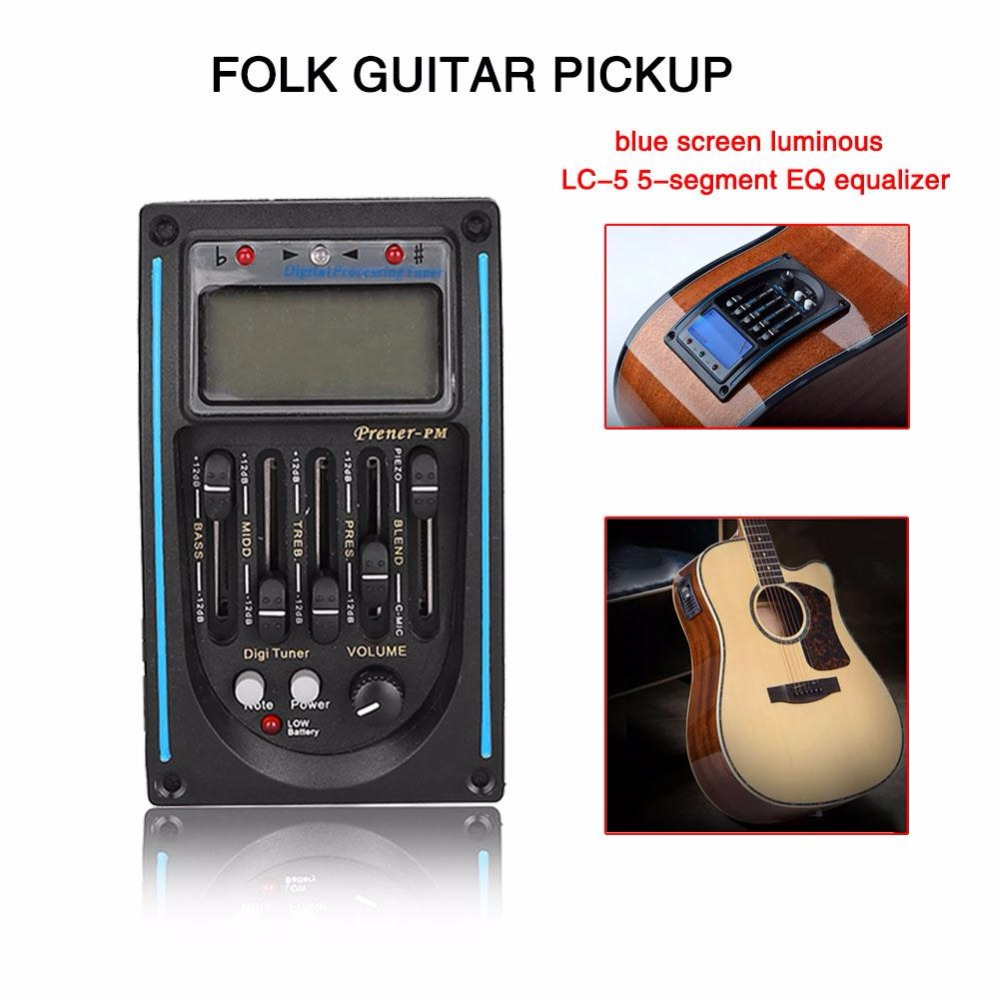 LC-5 5 Bands Acoustic Guitar Pickup EQ Preamp Equalizer Blue LCD Tuner Piezo Pickup Equalizer System Tuner Device Accessories joyo eq 307 folk guitarra 5 band eq acoutsic guitar equalizer high sensibility presence adjustable with phase effect and tuner