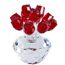 H&D Red Crystal Enchanted Rose Flower Figurine Collectible Statue Wedding Table Centerpiece Ornament Christmas Gift Souvenir
