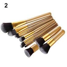 Hot! 11Pcs Wood Handle Makeup Cosmetic Eyeshadow Foundation Concealer Brush Set