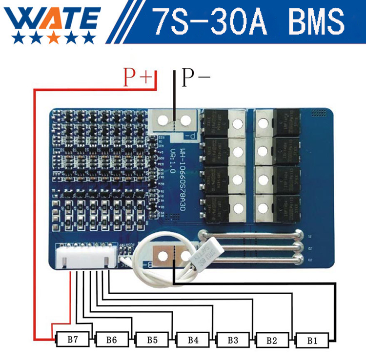 29.4V 7S lithium battery protection board 30A working current with balanced function with temperature switch protection 5s 12a lithium battery protection board with a balanced function 18650 battery protection 21v lithium battery protection board