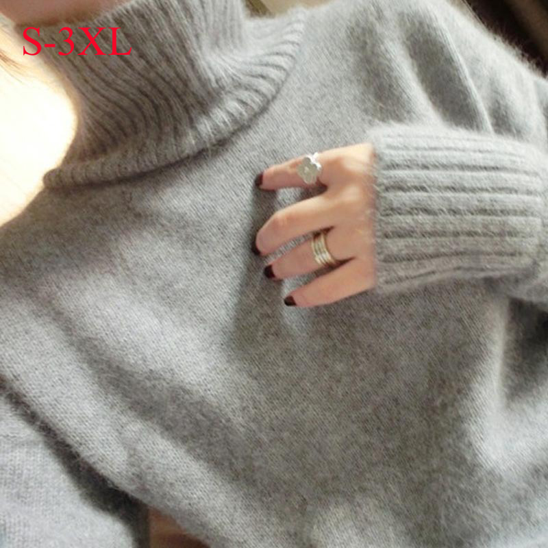 2016 winter medium-long turtleneck sweater loose female knitted color block basic shirt outerwear