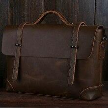 KUNDUI Famous Brand Crazy Horse Genuine Leather handbag Vintage Fashion men shoulder handbag messenger bags Business Briefcase