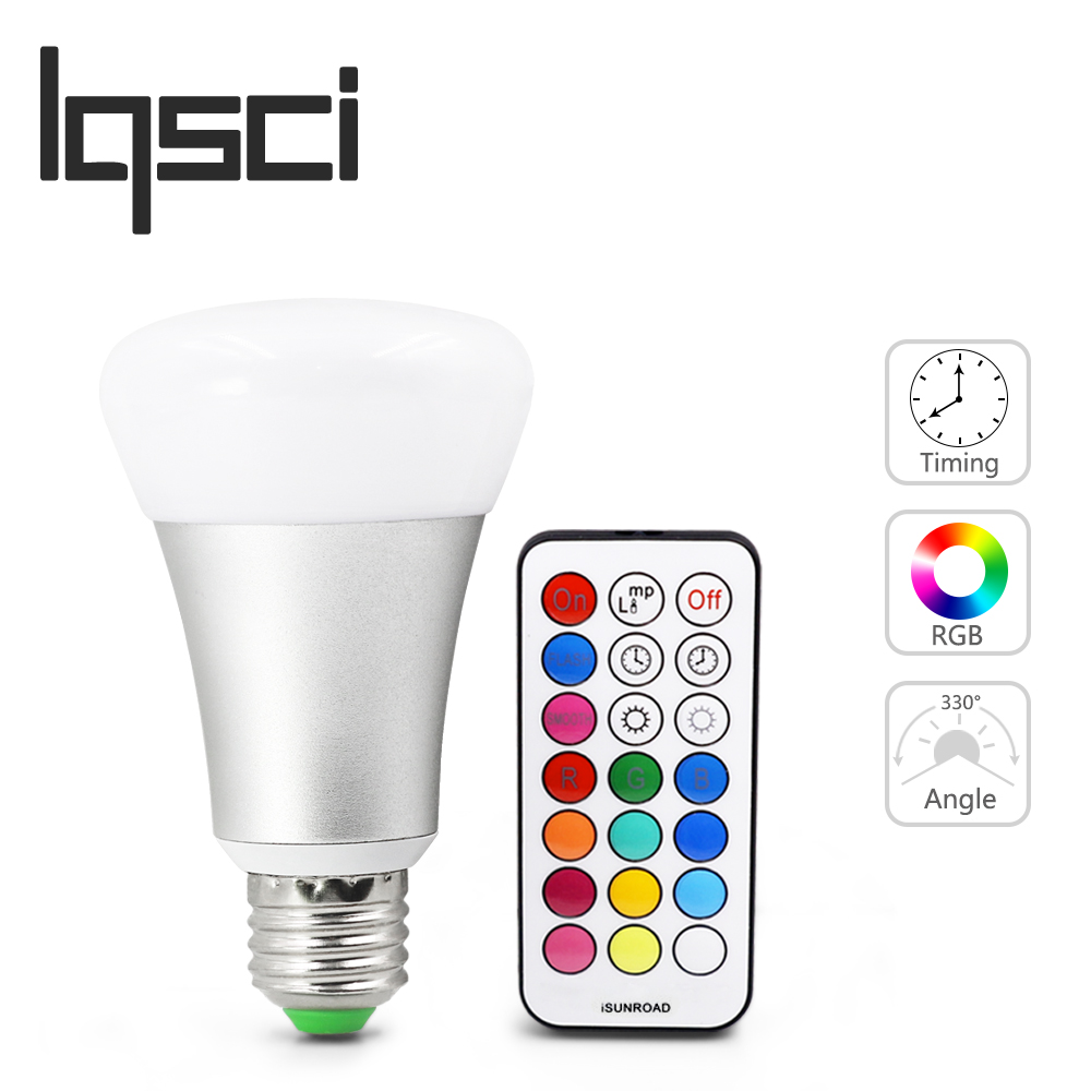 LQSCI 10W RGB E27 LED Bulb Light Stage Lamp 12 Colors with Remote Control Led Lights for Home AC 85-265V RGB + Cool / Warm white