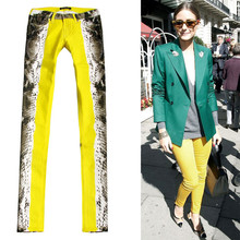 2017 Paris Style Spring Summer women Slim Printed Yellow Color Stretch Jeans Europeans Street Fashion Female Jeans