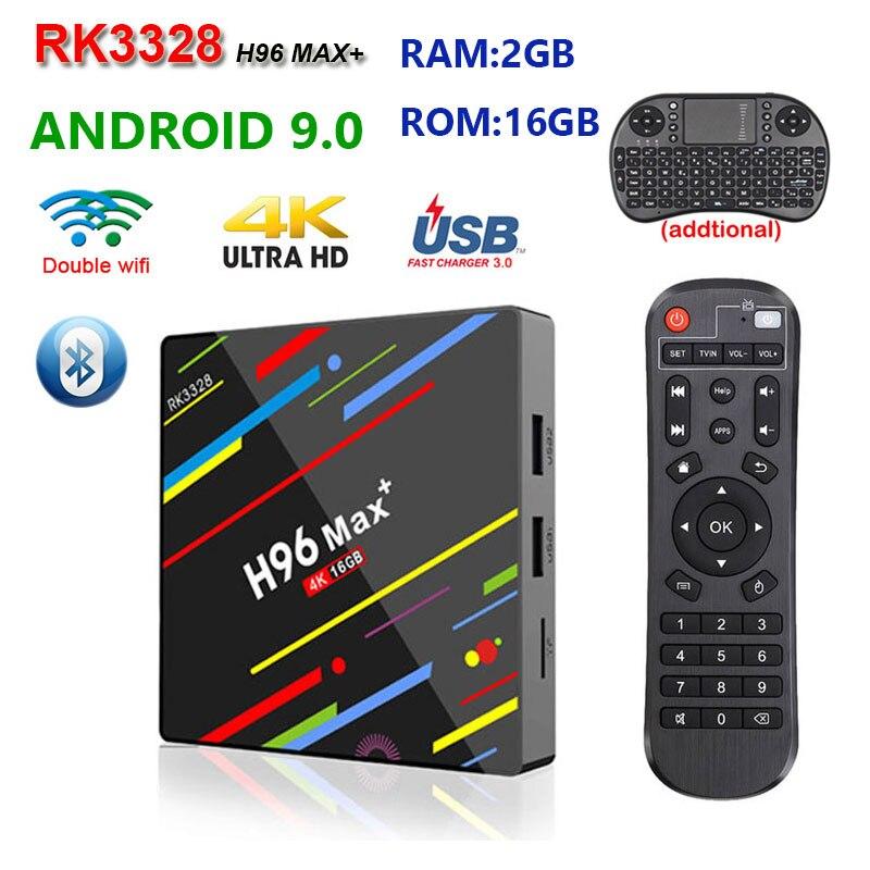 Boîtier TV H96 MAX Plus RK3328 Android 9.0 2 GB 16 GB prise en charge 2.4/5G double wifi YouTube 4 K H.265 HD2.0 boîtier multimédia haut de gamme h96 max