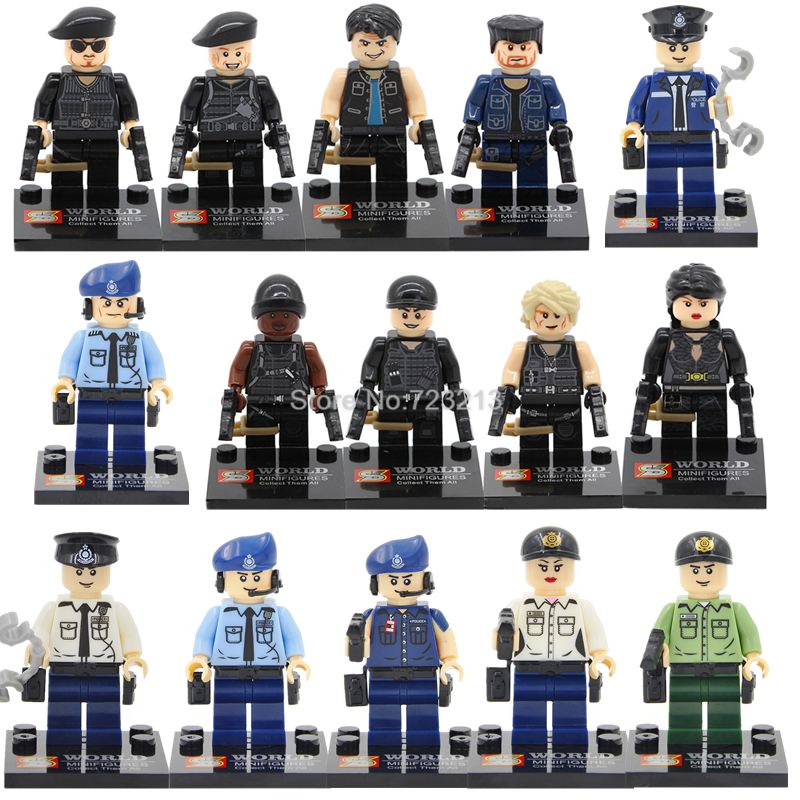 Single Sale SY The Expendables Military Modern SWAT Figure Police Bricks building blocks set Model Toys for Children SY260 SY278 8 in 1 military ship building blocks toys for boys