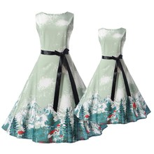 New Mother And Daughter Dress Family Clothes Summer Sleeveless mommy and me Dresses Matching Clothing Printed Flower mae e filha