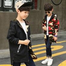 Boy Hoodies Children Double-side Wear Parka Spring Teenager Boys Camouflage Jacket
