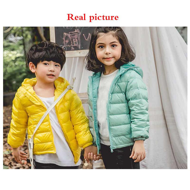 Осенне-зимняя детская однотонная пуховая куртка с наполнителем из вельвета, пуховая одежда с капюшоном тонкое хлопковое пальто для малышей зимнее пальто