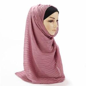 Image 5 - Châle plissé en mousseline de soie pour femmes, grande taille, Turban plissé, longue écharpe enveloppée, 180x85cm, nouvelle collection