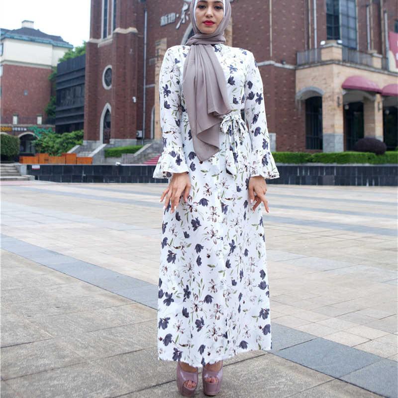 66a7ac76c19eb Vestido 2019 UAE Abaya Dubai Kaftan Chiffon Maxi Muslim Hijab Dress ...