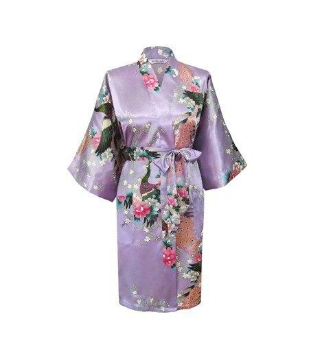 Lavender Fashion Womens Peacock Kimono Bath Robe Nightgown Gown Yukata Bathrobe Sleepwear Pocket With Belt S M L XL XXL XXXL