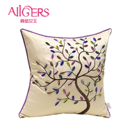 Avigers Fashion Pastoral Cushions Cover Embroidery Cotton Pillow Case Core Home Decorative Kid Sofa Chair Purple