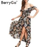 BerryGo Ruffle Flower Print Sexy Long Dress Vintage Boho Beach Summer Dress Women Split Chiffon Maxi