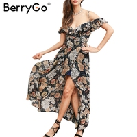 BerryGo Ruffle Flower Print Sexy Long Dress Vintage Boho Beach Summer Dress Women Split Chiffon Maxi