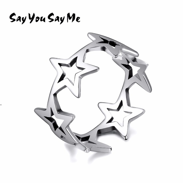 925 Sterling Silver Five-pointed Star Rings Wedding&Engagement Fashion Rings Sil