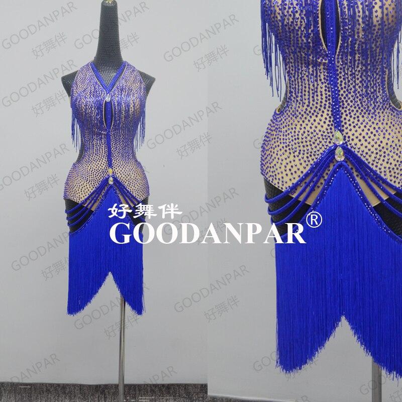 GOODANPAR femmes sans manches lycra frange latine danse robe compétition danse porter Samba Salsa Costume Sexy Latin jupe nouvelle robe