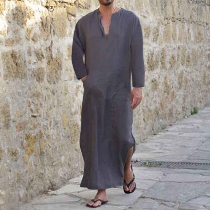 INCERUN 2019 秋プラスサイズメンズシャツ長袖 V ネックコットンポケットトップスロングシャツ男性イスラムアラブカフタン s-5XL