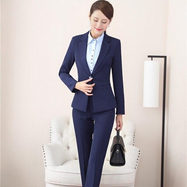 a1cc5e5c3fd0 Formal Uniform Designs Fall Winter Blazer Women Business Suits Pants and  Jackets Sets For Ladies Office OL Style Plus Size