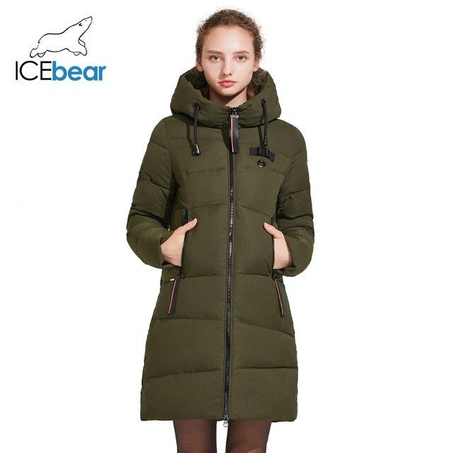 ICEbear 2018 Удлинённое женское пальто с капюшоном для отдыха зимой модная тёплая парка с большими карманами зимний женский пуховик 17G661D