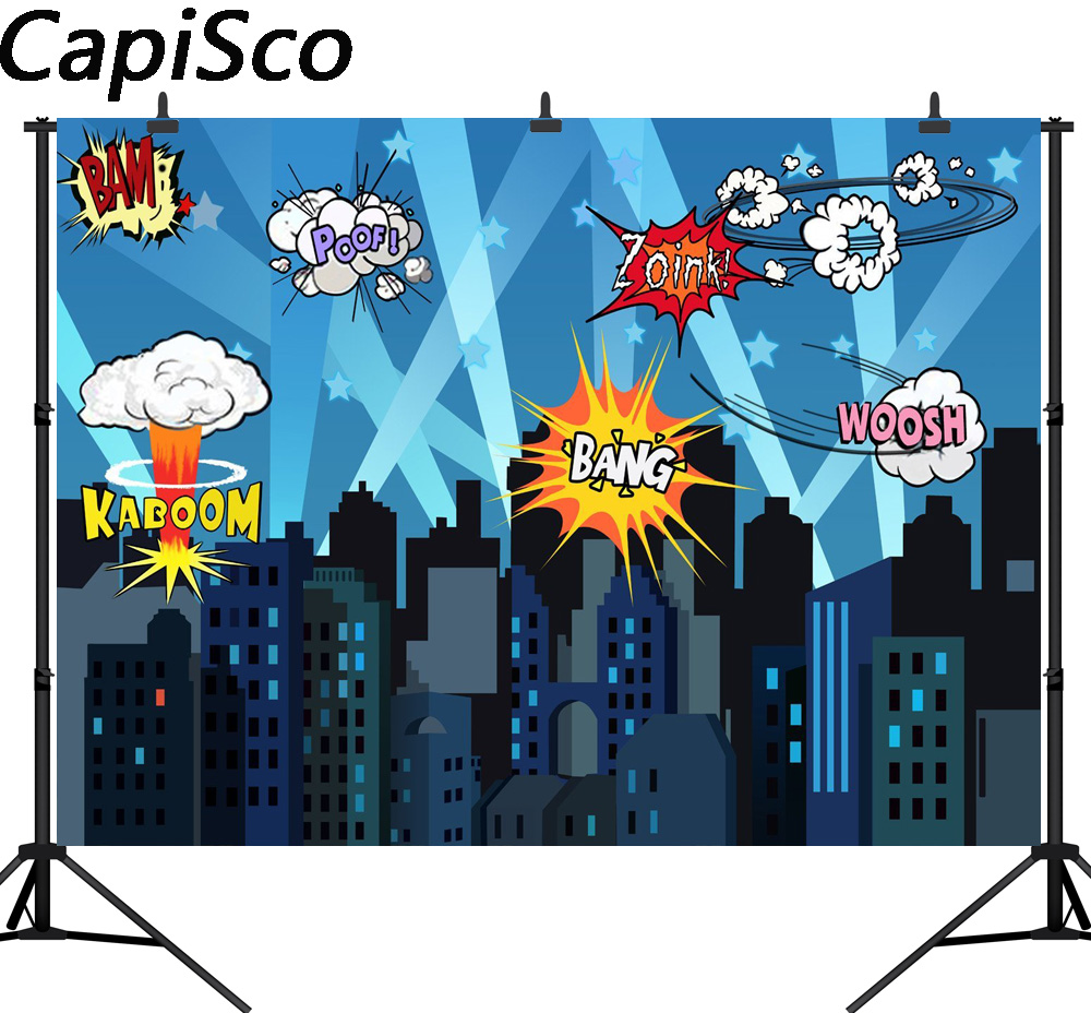 Capisco Seamless vinyl photography backdrop Super hero City Night Children Party Background decoration photocall for photography