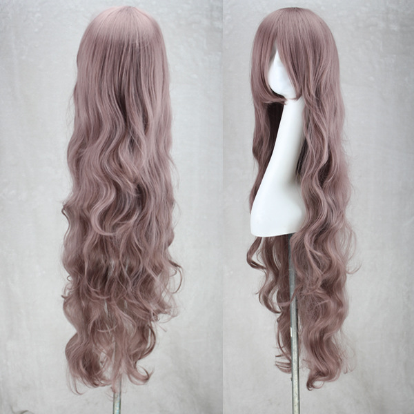 100cm Anime Costume Long Curly Wave Synthetic Wigs Purple Hair Party Cosplay Wig For Halloween Peruca Peluca