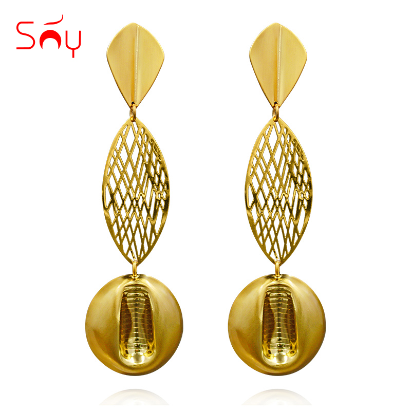 Sunny Jewelry Fashion Jewelry 2019 Long Drop Dangle Earrings For Women Exquisite Jewelry Round Net For Wedding Party Daily Gift