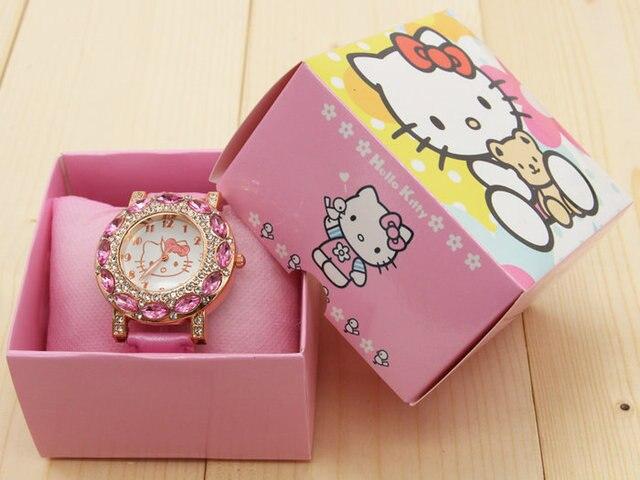 Fashion Women Crystal Cartoon Watch Hello Kitty Watch Girls Kid Casual Quartz Wr