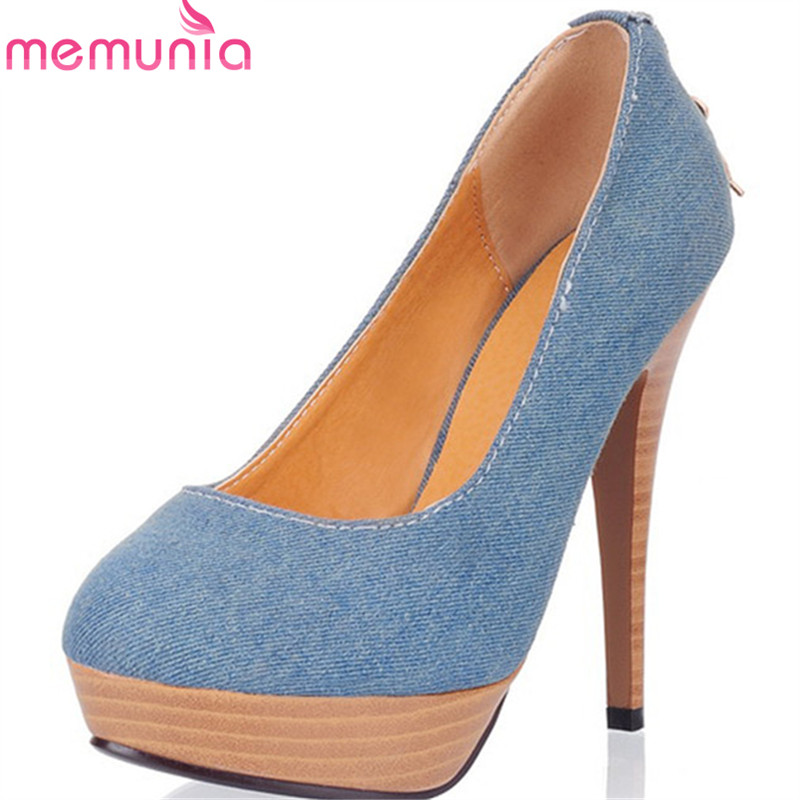 MEMUNIA 2018 new arrive women pumps spring summer top quality fashion casual shoes elegant shallow pointed toe high heels shoes fletite top quality elegant embroidery 8 color women pumps pointed toe thin high heels 2018 new fashion luxury women shoes brand