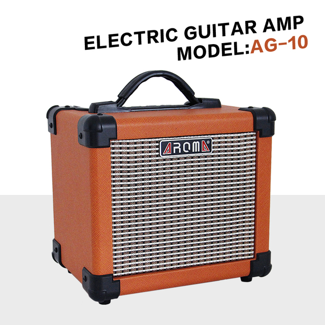 Cheap Guitar AMP Aroma AG-10 Electric  Amplifier Loudspeaker Box Audio Amplifer with Gauge Audio Cable