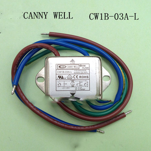 CW1B-03A-L  EMI power filter Belt line 110-250V 3A, with a line of power filter, small side Electrical Equipment b84113hg125 ac power line filters 2 line emv filter 25a 250v mr li