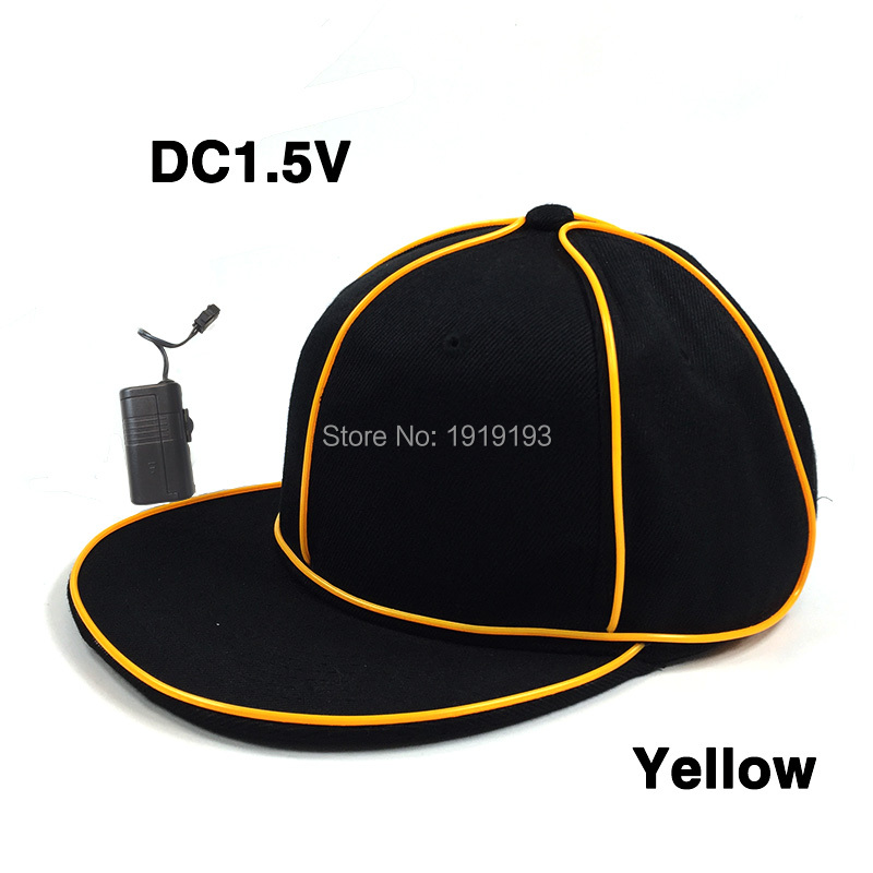 Free Shipping 10 Colors Available EL Wire Cold Light Baseball Cap Neon Led Strip Bboy Hip-Hop Hat Street Dancer Favors for Party