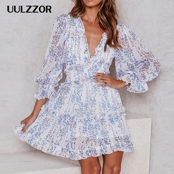 UULZZOR 2019 Women dresses autumn Sexy Deep V Long Sleeve Print Dresses Bohemian Backless Elegant dress Ruffles female Vestidos bohemian strappy tribal print backless dress