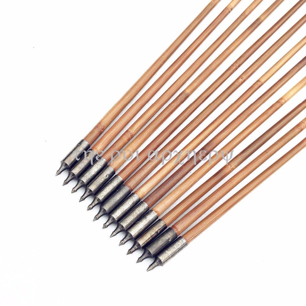 pcs arco e flecha de bambu com preto nocks caca alvo setas 05