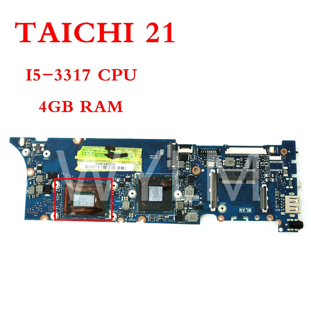 TAICHI21 With I5-3317CPU 4GB RAM mainboard For ASUS TAICHI 21 Laptop motherboard MAIN BOARD 100% Tested Working free shipping free shipping original x75a x75vd laptop motherboard main board mainboard 2g ram memory 100% tested working