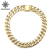 Hip Hop Jewelry Link Chain 316L Stainless Steel Men Fashion Gold/Silver Color Charm Stainless Steel Titanium Necklace