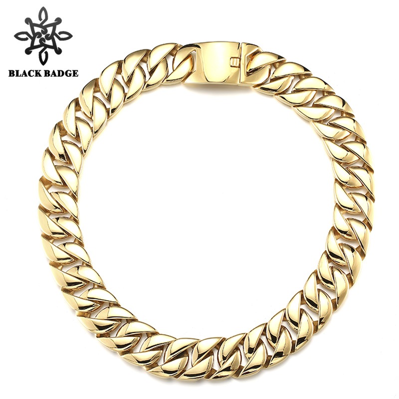 Hip Hop Jewelry Link Chain 316L Stainless Steel Men Fashion Gold/Silver Color Charm Stainless Steel Titanium Necklace bauer